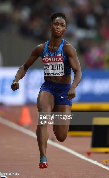 Tianna Bartoletta of USA jumps in the long jump final in London at the 2017 IAAF World Championships athletics at the London Stadium in London on...