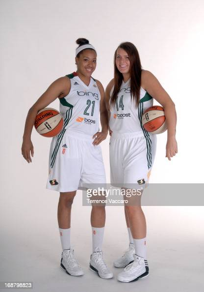 Tianna Hawkins and Cierra Bravard of the Seattle Storm pose for a photo during WNBA Media Day on May 14 2013 at Key Arena in Seattle Washington NOTE...