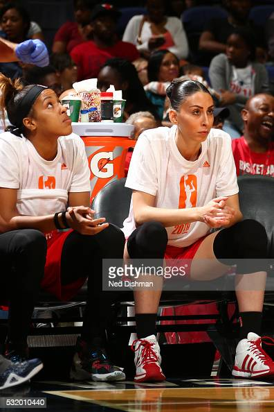 Tianna Hawkins and Zoi Dimitrakou of Washington Mystics looks on during the game against the New York Liberty on May 14 2016 at Verizon Center in...