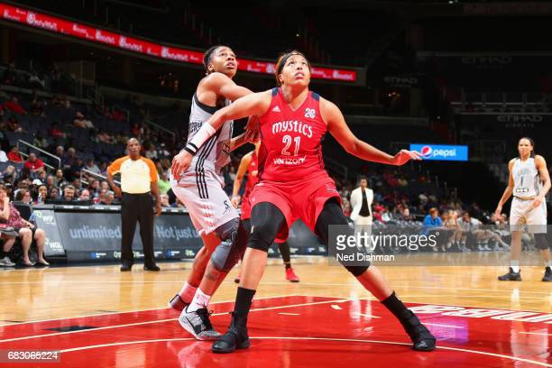 Tianna Hawkins of the Washington Mystics boxes out during the game against the San Antonio Stars on May 14 2017 at Verizon Center in Washington DC...
