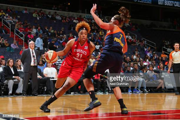 Tianna Hawkins of the Washington Mystics drives to the basket against the Connecticut Sun during a WNBA game on August 29 2017 at the Verizon Center...
