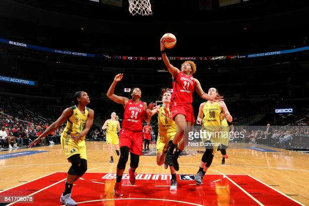 Tianna Hawkins of the Washington Mystics goes for a lay up during the game against the Seattle Storm during a WNBA game on September 1 2017 at the...