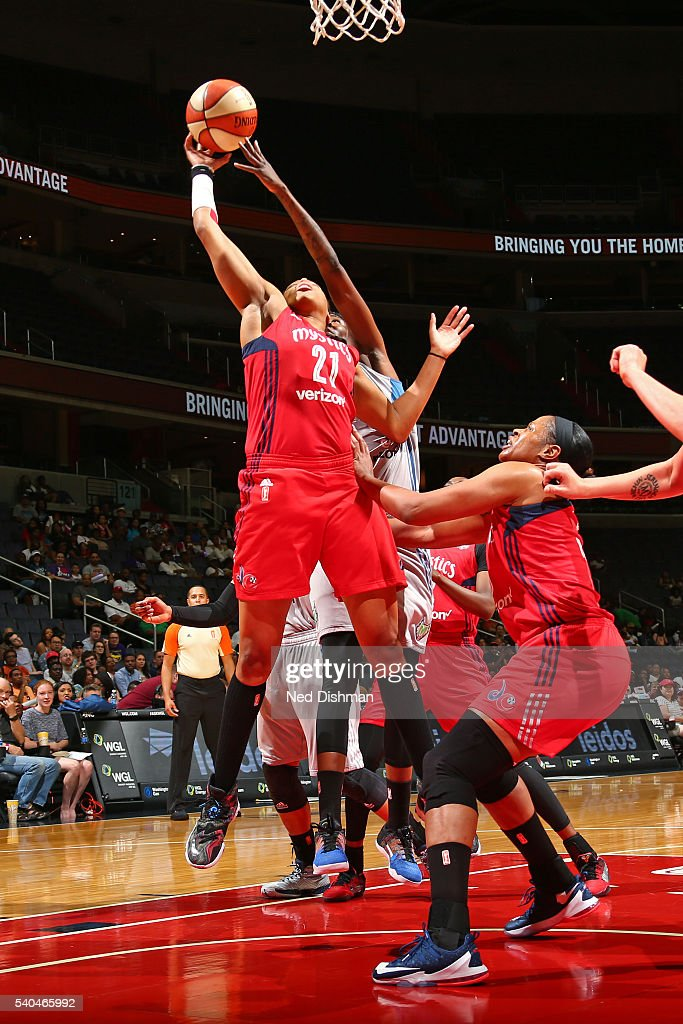<a gi-track='captionPersonalityLinkClicked' href=/galleries/search?phrase=Tianna+Hawkins&family=editorial&specificpeople=6559085 ng-click='$event.stopPropagation()'>Tianna Hawkins</a> #21 of the Washington Mystics goes up for a rebound against the Minnesota Lynx on June 11, 2016 at Verizon Center in Washington, DC.
