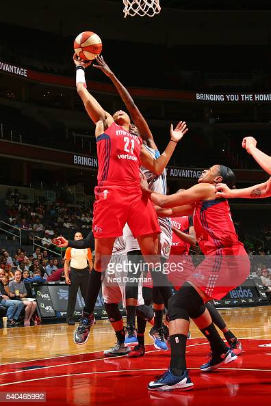 Tianna Hawkins of the Washington Mystics goes up for a rebound against the Minnesota Lynx on June 11 2016 at Verizon Center in Washington DC NOTE TO...