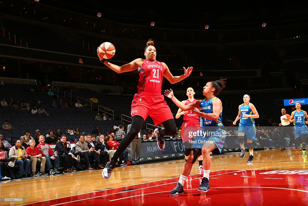 Tianna Hawkins of the Washington Mystics grabs the rebound against the Dallas Wings on May 18 2016 at the Verizon Center in Washington DC NOTE TO...