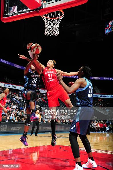 Tianna Hawkins of the Washington Mystics grabs the rebound against the Atlanta Dream on June 5 2016 at Philips Arena in Atlanta Georgia NOTE TO USER...