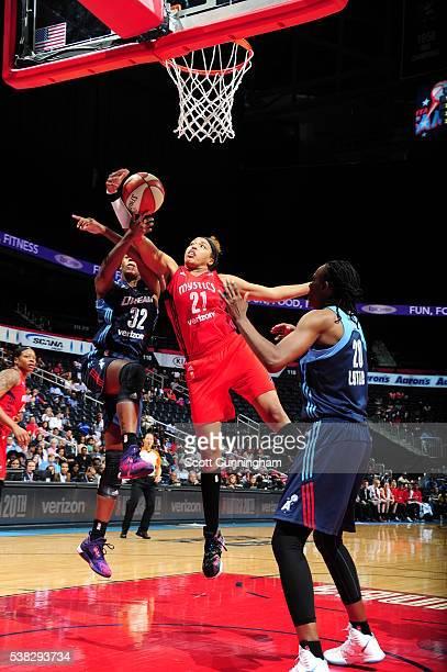 Tianna Hawkins of the Washington Mystics grabs the rebound against the Atlanta Dream on June 5 2016 at Philips Arena in Atlanta Georgia NOTE TO USER...