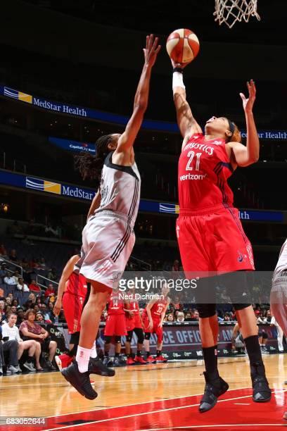 Tianna Hawkins of the Washington Mystics grabs the rebound against the San Antonio Stars on May 14 2017 at Verizon Center in Washington DC NOTE TO...