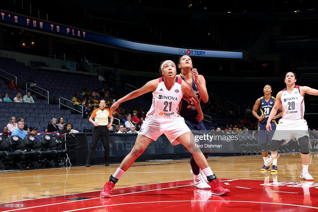 <a gi-track='captionPersonalityLinkClicked' href=/galleries/search?phrase=Tianna+Hawkins&family=editorial&specificpeople=6559085 ng-click='$event.stopPropagation()'>Tianna Hawkins</a> #21 of the Washington Mystics guards her position against the Indiana Fever at the Verizon Center on May 7, 2014 in Washington D.C.