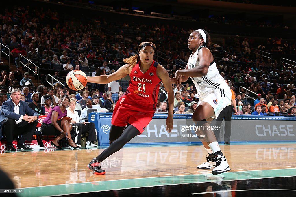 Tianna Hawkins #21 of the Washington Mystics handles the ball against the New York Liberty at Madison Square Garden on June 6, 2014 in New York, NY.