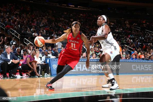 Tianna Hawkins of the Washington Mystics handles the ball against the New York Liberty at Madison Square Garden on June 6 2014 in New York NY NOTE TO...