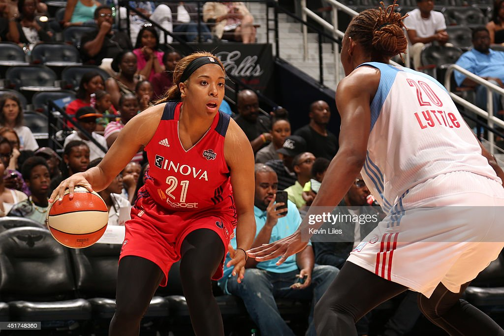Tianna Hawkins #21 of the Washington Mystics handles the ball against the Atlanta Dream at Philips Arena on July 5, 2014 in Atlanta, Georgia.