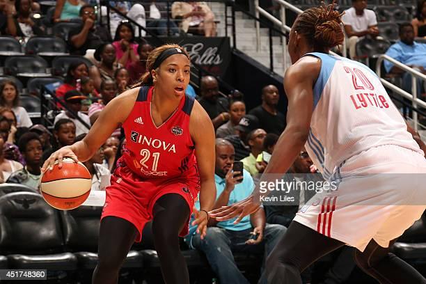 Tianna Hawkins of the Washington Mystics handles the ball against the Atlanta Dream at Philips Arena on July 5 2014 in Atlanta Georgia NOTE TO USER...
