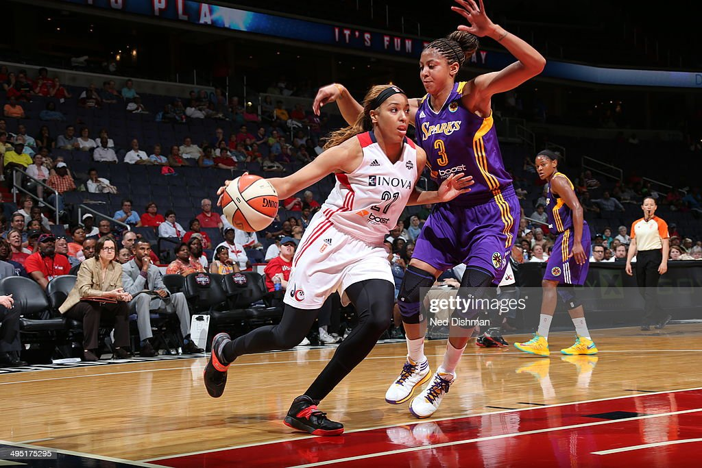 Tianna Hawkins #21 of the Washington Mystics handles the ball against the Los Angeles Sparks at the Verizon Center on June 1, 2014 in Washington, DC.