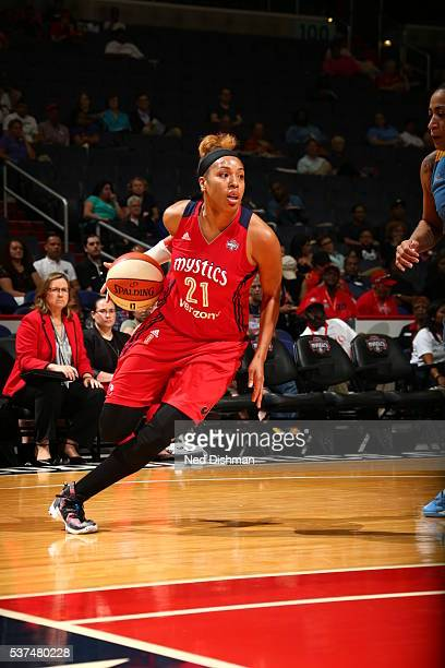 Tianna Hawkins of the Washington Mystics handles the ball against the Chicago Sky on June 1 2016 at Verizon Center in Washington DC NOTE TO USER User...