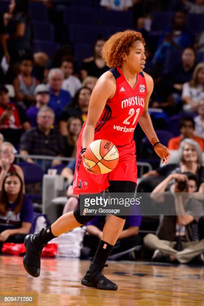 Tianna Hawkins of the Washington Mystics handles the ball against the Phoenix Mercury on July 5 2017 at Talking Stick Resort Arena in Phoenix Arizona...