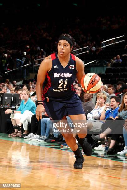Tianna Hawkins of the Washington Mystics handles the ball during the game against the New York Liberty in a WNBA game on August 25 2017 at Madison...