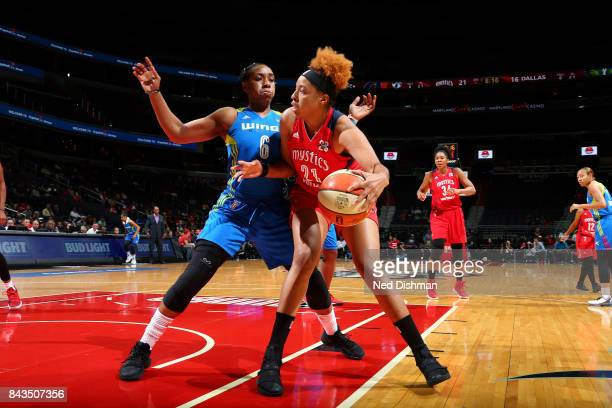 Tianna Hawkins of the Washington Mystics handles the ball during the game against the Dallas Wings during Round One of the 2017 WNBA Playoffs on...