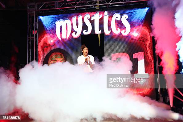 Tianna Hawkins of the Washington Mystics is introduced before the game against the New York Liberty on May 14 2016 at Verizon Center in Washington DC...