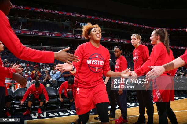 Tianna Hawkins of the Washington Mystics is introduced before the game Minnesota Lynx on May 8 2017 at Verizon Center in Washington DC NOTE TO USER...