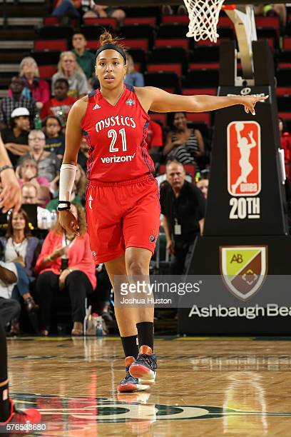 Tianna Hawkins of the Washington Mystics is seen during the game against the Seattle Storm on July 15 at Key Arena in Seattle Washington NOTE TO USER...