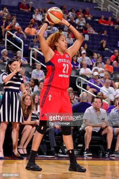 Tianna Hawkins of the Washington Mystics passes the ball against the Phoenix Mercury on July 5 2017 at Talking Stick Resort Arena in Phoenix Arizona...
