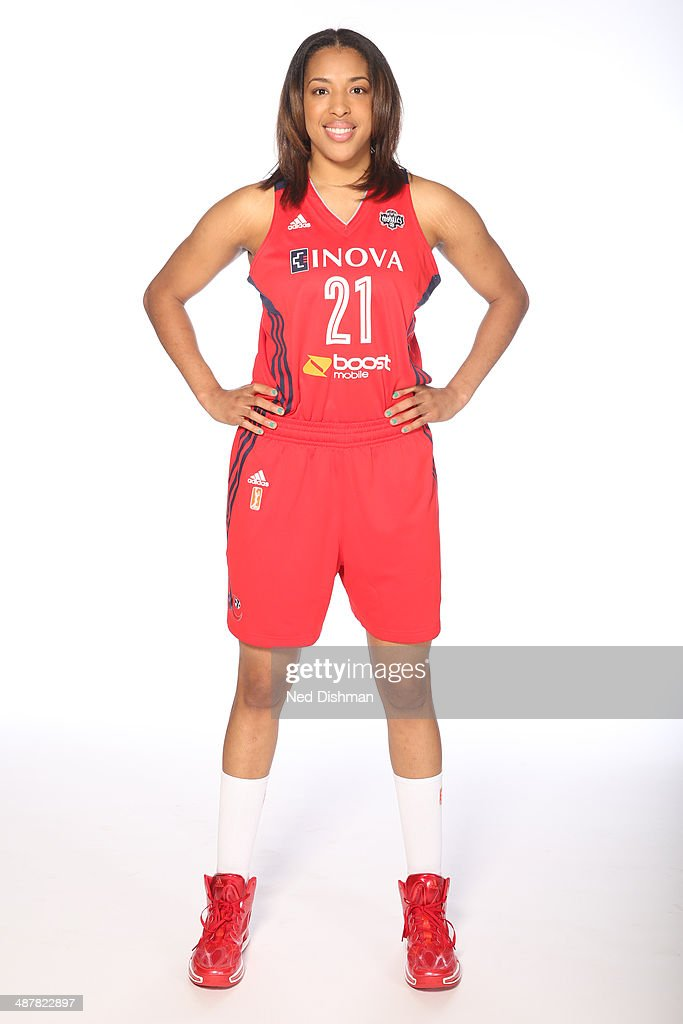 Tianna Hawkins of the Washington Mystics poses for a photo during 2014 Washington Mystics media day at the Verizon Center on April 28 2014 in...
