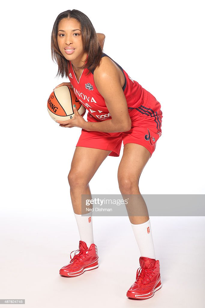 Tianna Hawkins #21 of the Washington Mystics poses for a photo during 2014 Washington Mystics media day at the Verizon Center on April 28, 2014 in Washington D.C.