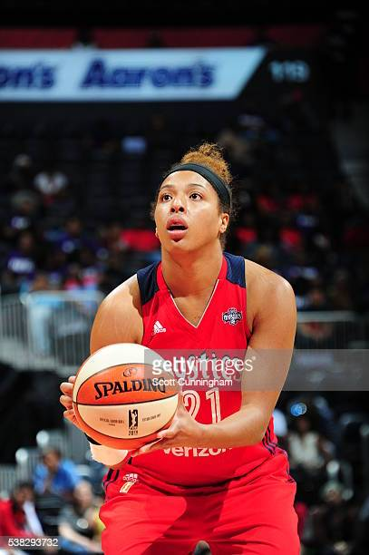 Tianna Hawkins of the Washington Mystics shoots a free throw against the Atlanta Dream on June 5 2016 at Philips Arena in Atlanta Georgia NOTE TO...