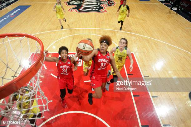 Tianna Hawkins of the Washington Mystics shoots a lay up during the game against the Seattle Storm during a WNBA game on September 1 2017 at the...