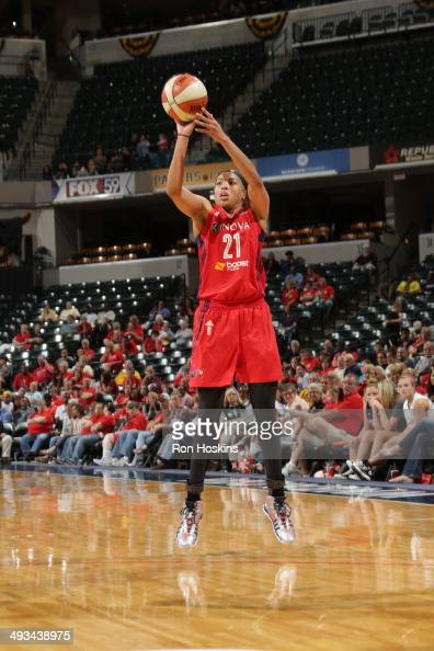 Tianna Hawkins of the Washington Mystics shoots against the Indiana Fever during the game on May 23 2014 at Bankers Life Fieldhouse in Indianapolis...