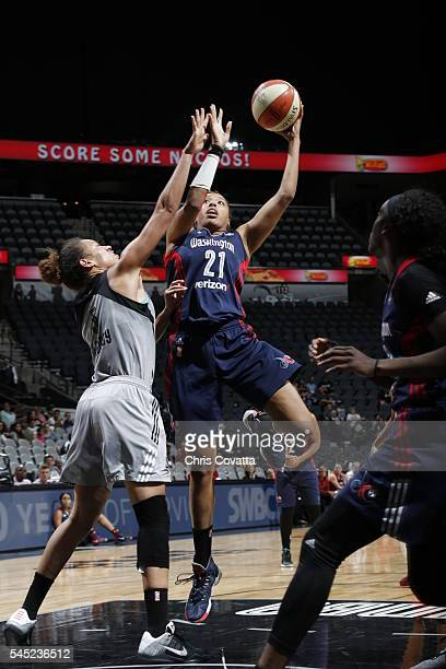 Tianna Hawkins of the Washington Mystics shoots against the San Antonio Stars during the game on July 6 2016 at ATT Center in San Antonio Texas NOTE...