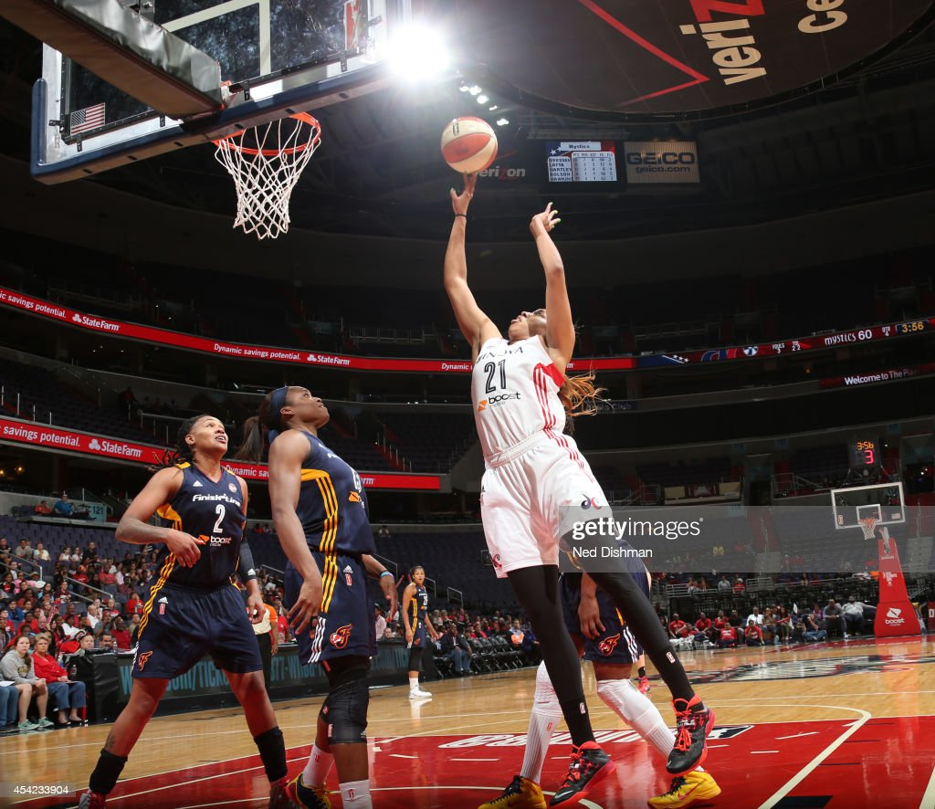 <a gi-track='captionPersonalityLinkClicked' href=/galleries/search?phrase=Tianna+Hawkins&family=editorial&specificpeople=6559085 ng-click='$event.stopPropagation()'>Tianna Hawkins</a> #21 of the Washington Mystics shoots the ball against the Indiana Fever in Game Two of the Eastern Conference Semifinals during the 2014 WNBA Playoffs on August 23, 2014 at the Verizon Center in Washington, DC.