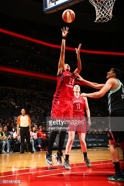 Tianna Hawkins of the Washington Mystics shoots the ball against the New York Liberty on May 14 2016 at Verizon Center in Washington DC NOTE TO USER...