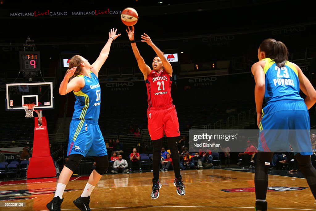 Tianna Hawkins #21 of the Washington Mystics shoots the ball against the Dallas Wings on May 18, 2016 at the Verizon Center in Washington, DC.