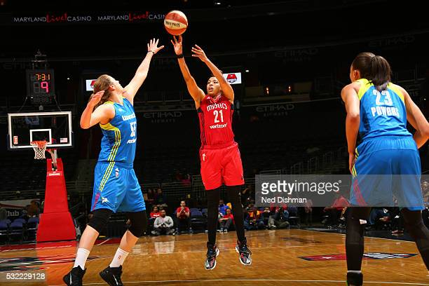 Tianna Hawkins of the Washington Mystics shoots the ball against the Dallas Wings on May 18 2016 at the Verizon Center in Washington DC NOTE TO USER...