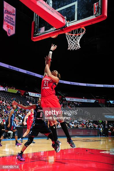 Tianna Hawkins of the Washington Mystics shoots the ball against the Atlanta Dream on June 5 2016 at Philips Arena in Atlanta Georgia NOTE TO USER...
