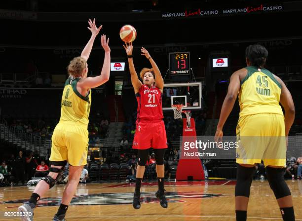 Tianna Hawkins of the Washington Mystics shoots the ball against the Seattle Storm on June 27 2017 at the Verizon Center in Washington DC NOTE TO...