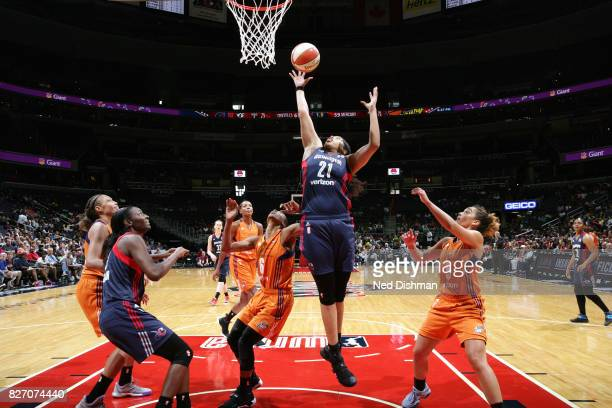 Tianna Hawkins of the Washington Mystics shoots the ball against the Phoenix Mercury on August 6 2017 at the Verizon Center in Washington DC NOTE TO...