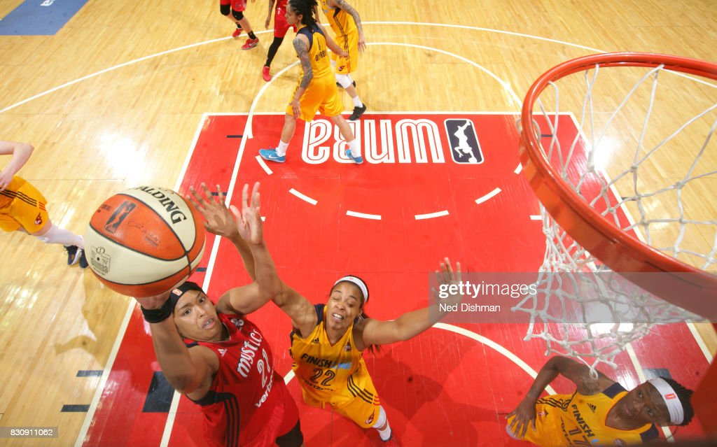 Tianna Hawkins #21 of the Washington Mystics shoots the ball against the Indiana Fever on August 12, 2017 at the Verizon Center in Washington, DC.