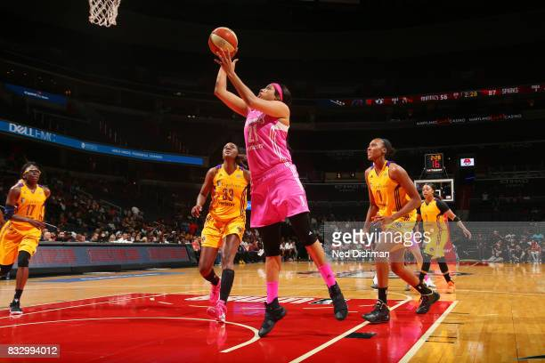 Tianna Hawkins of the Washington Mystics shoots the ball against the Los Angeles Sparks on August 16 2017 at the Verizon Center in Washington DC NOTE...