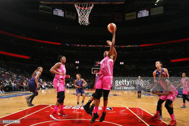 Tianna Hawkins of the Washington Mystics shoots the ball against the Phoenix Mercury on August 18 2017 at the Verizon Center in Washington DC NOTE TO...