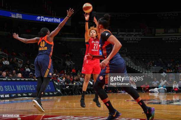 Tianna Hawkins of the Washington Mystics shoots the ball against the Connecticut Sun during a WNBA game on August 29 2017 at the Verizon Center in...