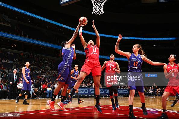 Tianna Hawkins of the Washington Mystics shoots the ball during the game against the Phoenix Mercury during a WNBA game on June 24 2016 at Verizon...