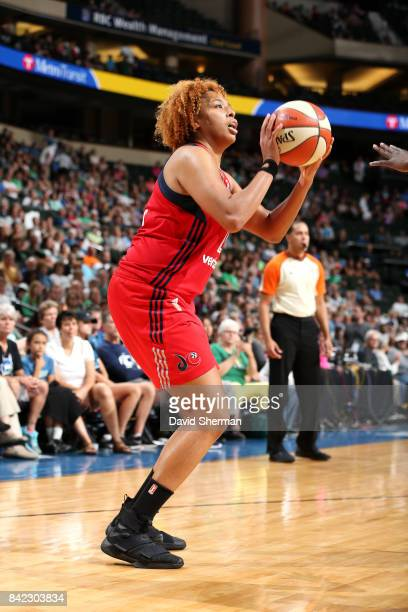 Tianna Hawkins of the Washington Mystics shoots the ball during the game against the Minnesota Lynx on September 3 2017 at Xcel Energy Center in St...