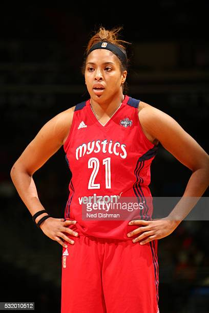 Tianna Hawkins of Washington Mystics looks on during the game against the New York Liberty on May 14 2016 at Verizon Center in Washington DC NOTE TO...