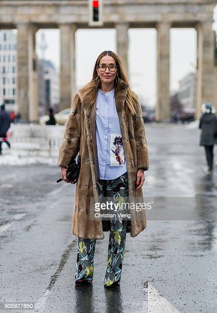 Tiany Kiriloff outside Dorothee Schumacher during the MercedesBenz Fashion Week Berlin Autumn/Winter 2016 at Brandenburg Gate on January 20 2016 in...