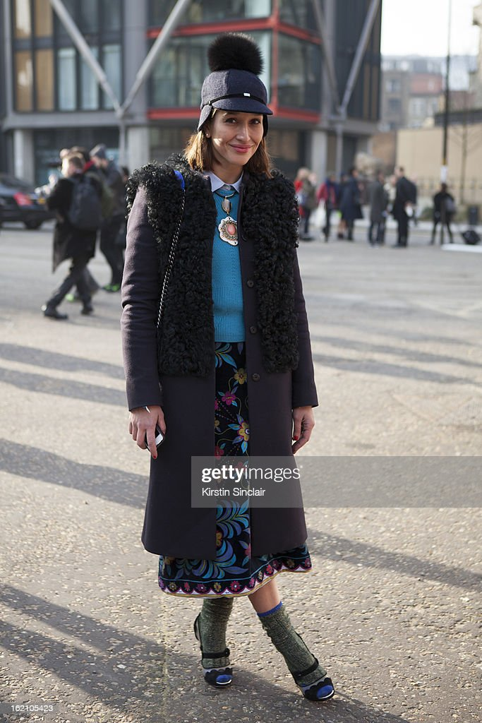 Tiany Kiriloff wearing Joshep coat, Cos jumper, high hat, Marni necklace, vintage pucci, Rupert Sanderson shoes and a Chanel bag on day 4 of London Womens Fashion Week Autumn/Winter 2013 on February 16, 2013 in London, England.