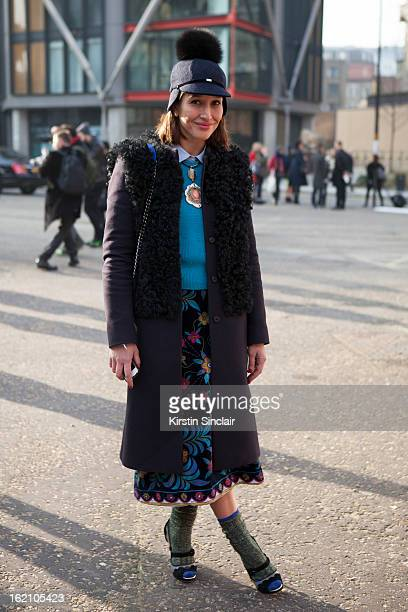 Tiany Kiriloff wearing Joshep coat Cos jumper high hat Marni necklace vintage pucci Rupert Sanderson shoes and a Chanel bag on day 4 of London Womens...