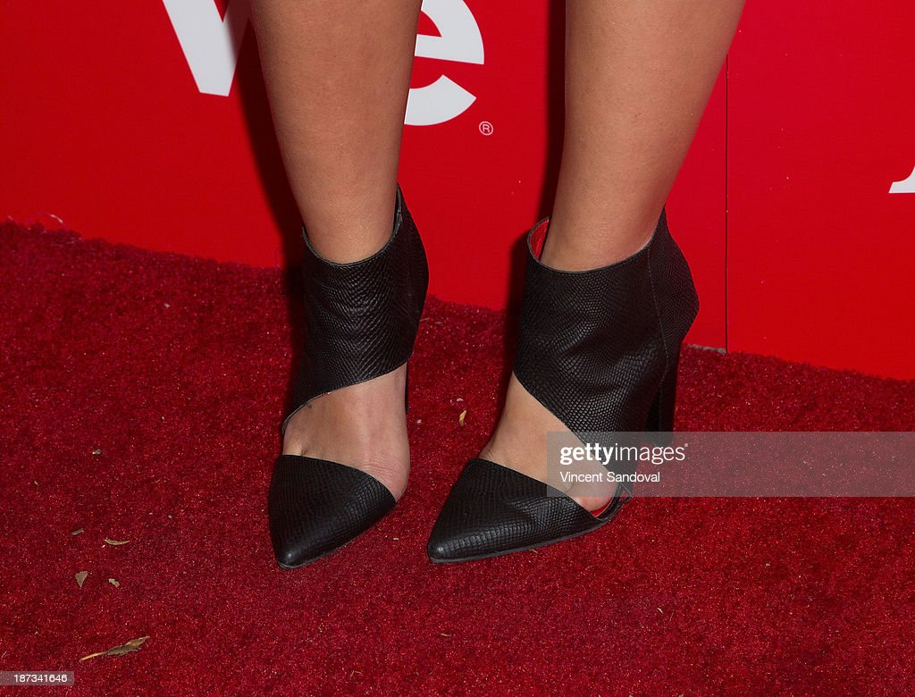 Tiara Hernandez (shoe detail) of The Lylas attends WE tv's premiere party for 'The LYLAS' at Warwick on November 7, 2013 in Hollywood, California.